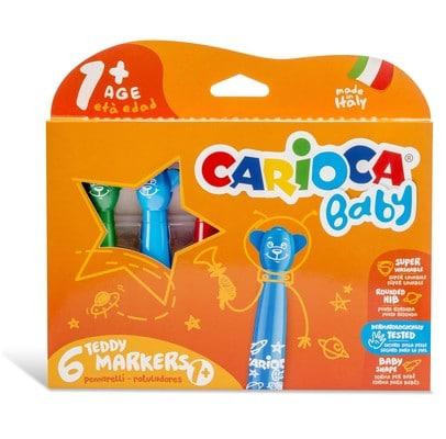Carioca Teddy Şekilli Jumbo Bebek Süper Yıkanabilir Keçeli Boya Kalemi 6lı